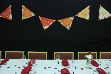 bunting and table
